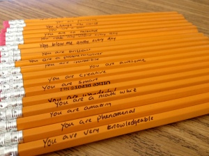 messages on pencils from last year