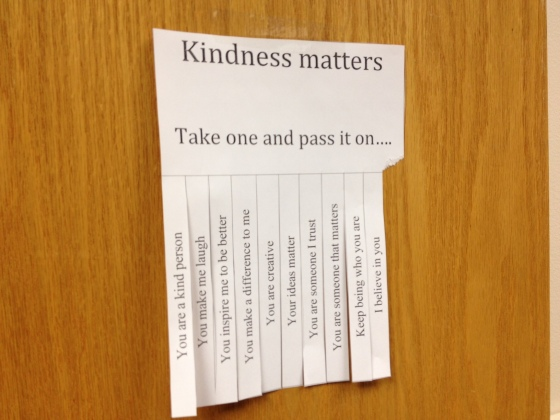 Hanging on my classroom door, I had to replace it today because they were all gone.